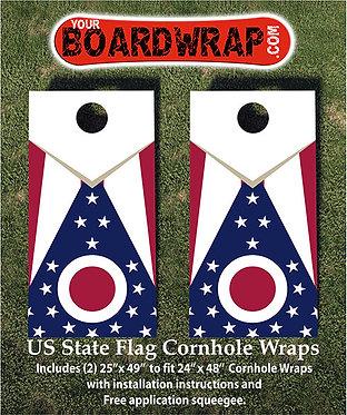 Ohio Flag Cornhole Wrap