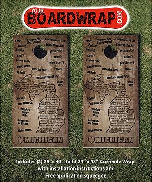 Michigan Cornhole   www.YourBoardWrap.com   Lawn Games