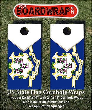 Connecticut Flag Cornhole Wrap