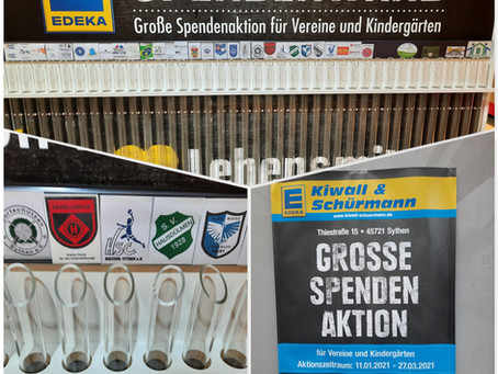 EDEKA-Spendenwand in Sythen