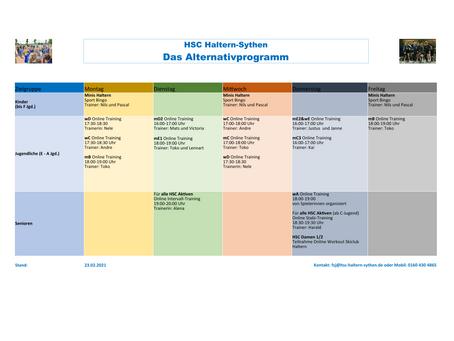 Update Februar 2021: Das Alternativprogramm des HSC Haltern/Sythen #trotzdemSPORT