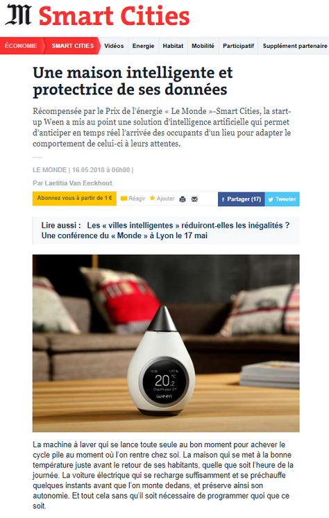 """Ween remporte le Prix Energie du concours Smart Cities """"Le Monde"""""""