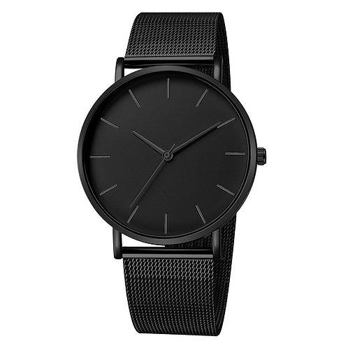 Luxury Watch Men Mesh Ultra-Thin Stainless Steel Black Bracelet Wristwatches