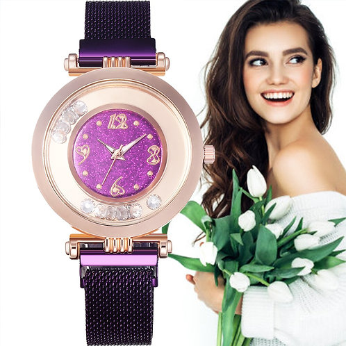Luxury Gold Women Watches Fashion Mesh Magnet Buckle Woman Watches Cheap 2020