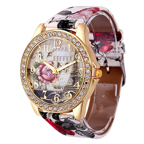 Geneva Women Watch Tower Pattern Rhinestone Watch Rose Tower Colorful Pattern