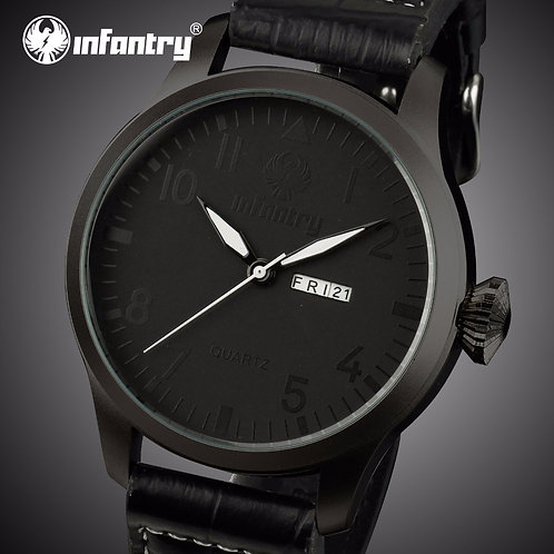 INFANTRY Mens Watches Top Brand Luxury Black Leather MilitaryWatch Men Pilot