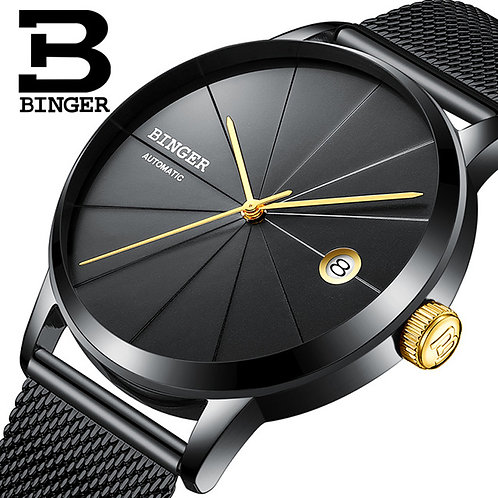 BINGER Brand Watches Seiko Automatic Movement Men Mechanical Watch Full Black