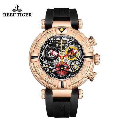 Reef Tiger/Rt Top Brand Mens Sport Watches Rose Gold Skeleton Watch RGA3059-S