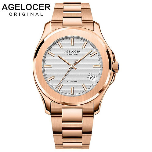 AGELOCER Mechanical Watch Men Automatic Power Reserve 80H Classic Gold Steel