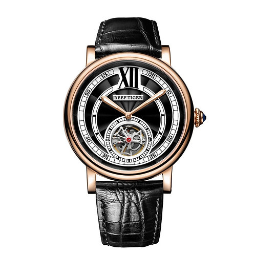 Reef Tiger/Rt Luxury Watches for Men Rose Gold Tourbillon Automatic Watch RGA192