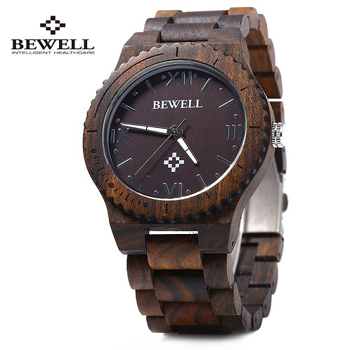 Bewell ZS - W065A Wood Men Quartz Watch Roman Numeral Scales Waterproof Wooden