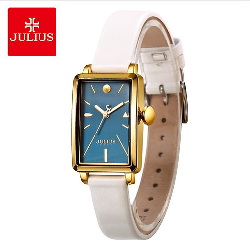 Julius Brand Lady Classic Blue Square Dial Leather Watches Vintage Waterproof