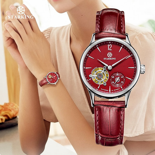 STARKING Mechanical Women Wristwatches Red Leather Skeleton Analog Automatic