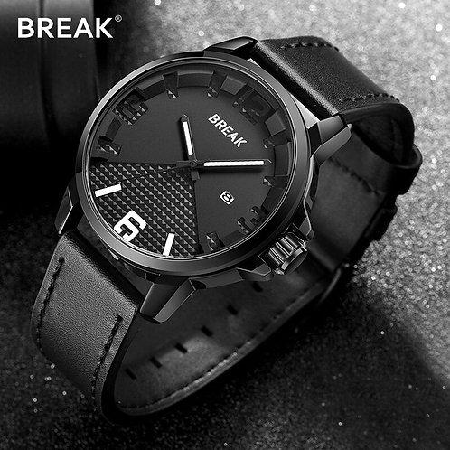 BREAK Newest Men's Luxury Top Brand Watch Quartz Date Clock Leather Strap