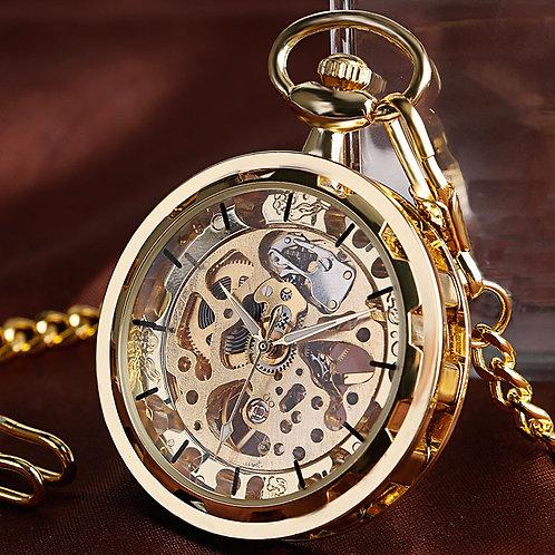 Vintage Watch Necklace Steampunk Skeleton Mechanical Fob Pocket Watch Clock