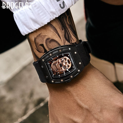 Baogela Pirate Skull Style Men Watch Silicone Luminous Quartz Watches Military