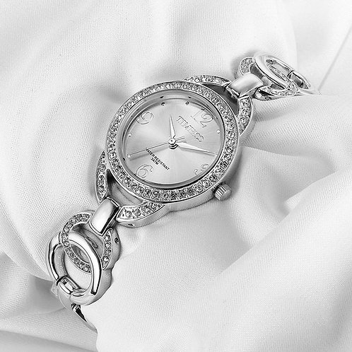 Time100 Luxury Fashion Women's Bracelet Watches Skeleton Silver Stainless Steel