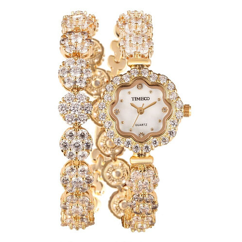 Free Shipping TIME100 Women Sunflower Crystal Dial Alloy Gold Silver Band