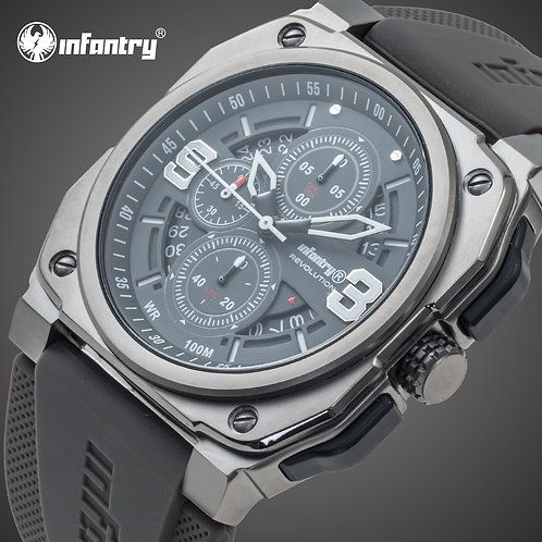 INFANTRY Mens Watches Top Brand Luxury Chronograph Square Army Sport Watch