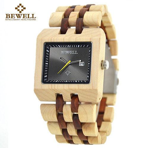 BEWELL Men's Watch Natural Wood Handmade Watches Rectangular Case Luxury Brand
