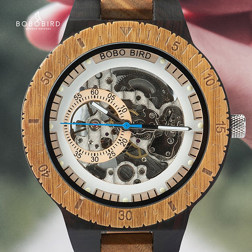 BOBO BIRD Men Watch Automatic Mechanical Wristwatches Multi-Functional Wooden