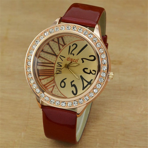Reloj Mujer 2020 Casual Ladies Watches Big Dial Rhinestone Women Watches Leather