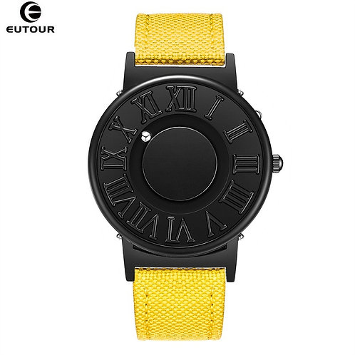 EUTOUR Watch Man  Canvas Leather Strap Mens Watches Magnetic Ball Show Quartz