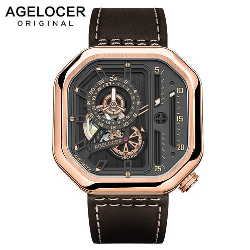 Swiss Brand AGELOCER Sport Watches for Men  Mechanical Watch Power Reserve 42 Hr