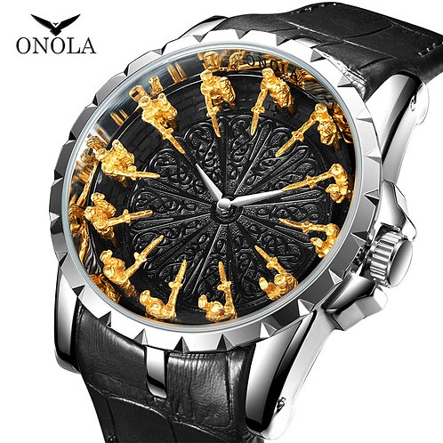 ONOLA Brand Unique Quartz Watch Man Luxury Rose Gold Leather Cool Gift for Man