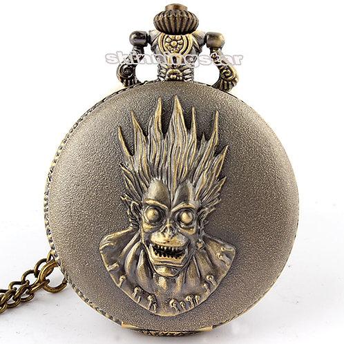 Antique Pocket Watch Death Punk Skull Quartz Bronze Pocket Clock Necklace
