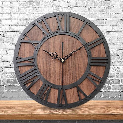 Vintage Wall Clock Wooden Roman Digital Pointer Clock for Home Living Room