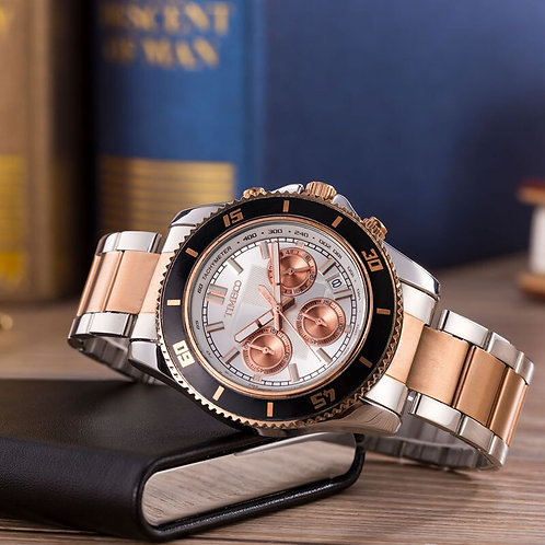TIME100 Men's Quartz Watch Business Stainless Steel Strap Analog Display Date
