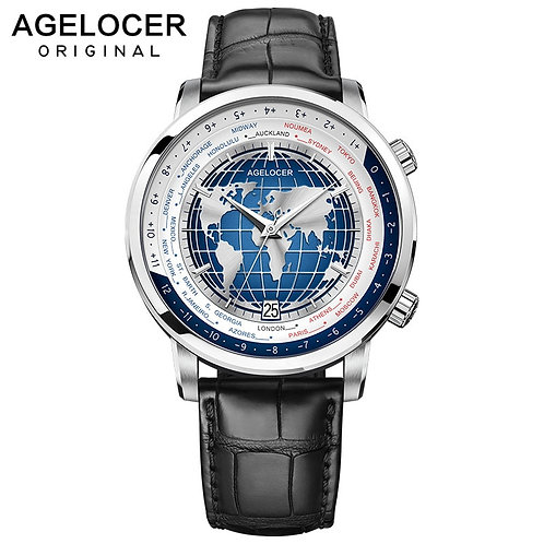 AGELOCER Swiss Brand Designer Men's Watch With World Time Date Power Reserve