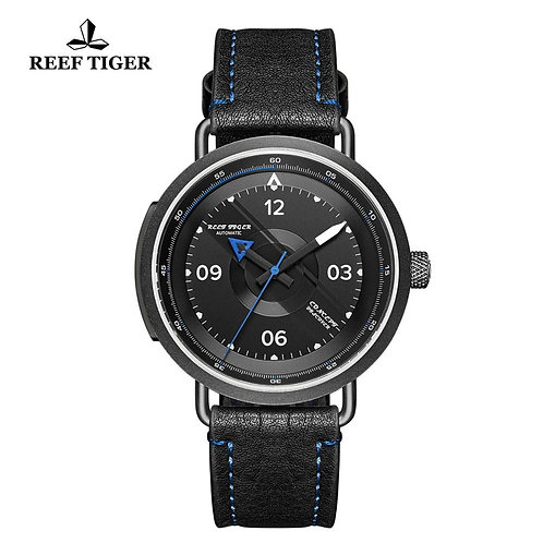 2020 Reef Tiger/Rt New Design Simple Watch Men Leather Strap PVD Waterproof