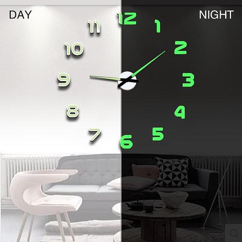 Wall Clock Modern Design Watch Digital Large Big 3D DIY Home Decor Luminous