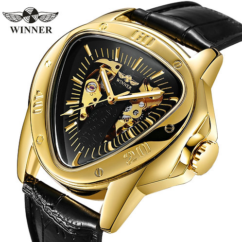 WINNER Official Sports Automatic Mechanical Men Watch Racing Triangle Skeleton
