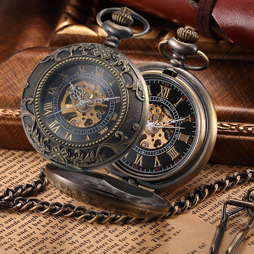 Steampunk Pocket Watch Mechanical Pocket Watches Flip Clock Necklace Retro