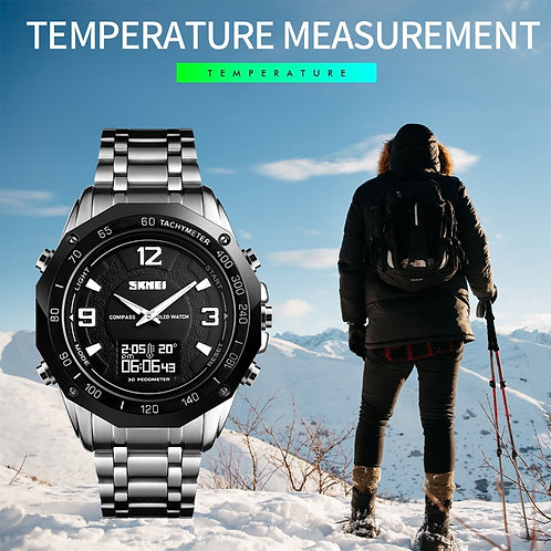 Luxury Watch Men Thermometer Compass Digital Clock Calorie Pedometer Sport Mens