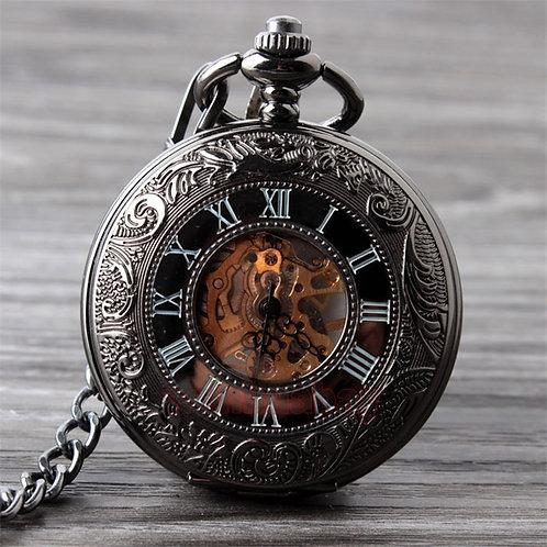 Vintage Black Mechanical Pocket Watch Mens Classic Elegant Hollow Skeleton Hand