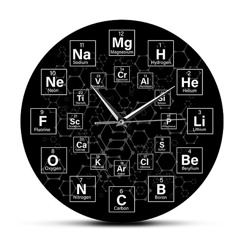 Periodic Table of the Elements Chemical Symbols Wall Clock Science Wall Art