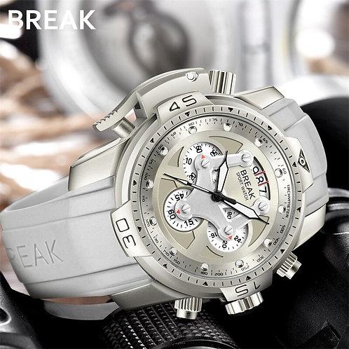 BREAK Unique Fashion Men Luxury Brand Watches Rubber Band Quartz Sport