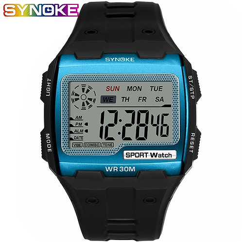 SYNOKE Fashion Men's Square Digital Watch Luminous Outdoor Sports