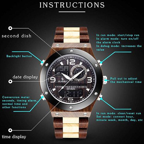 Real Wood Watch Men Dual Time Display Digital Wooden Wristwatch Relogio Masculin