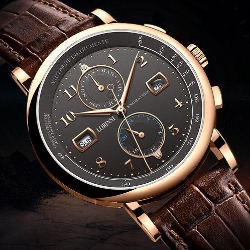 LOBINNI Business Watch Top Brand Luxury Fashion Man Leather Waterproof 50M Male
