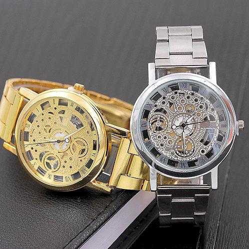 1pc Fashion Hollow Steel Watch Silver Gold Luxury Wrist Watch Men Women Unisex