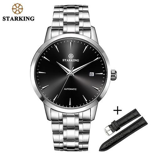 STARKING Sapphire Automatic Mechanical Watches Men Stainless Steel Leather Band