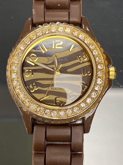 Ladies Zebra Geneva Quartz Wristwatch