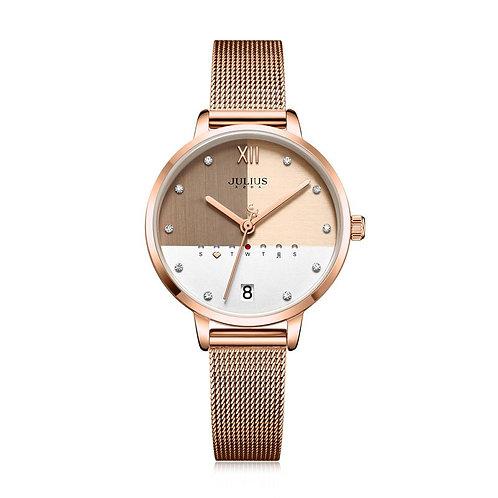 Julius Watch Stainless Steel Mesh Watch Calendar Multi Color Dial JA-1100