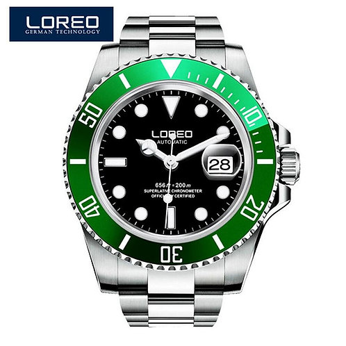 Automatic Watch Men LOREO Diving Mechanical Men Watches Full Steel Sapphire