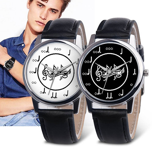 OKTIME Women PU Leather Strap Wrist Watch Musical Note Round Dial